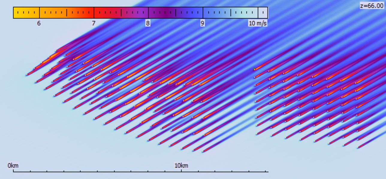 Calculation results of the FUGA model for the Horns Rev wind farms for a specific wind direction